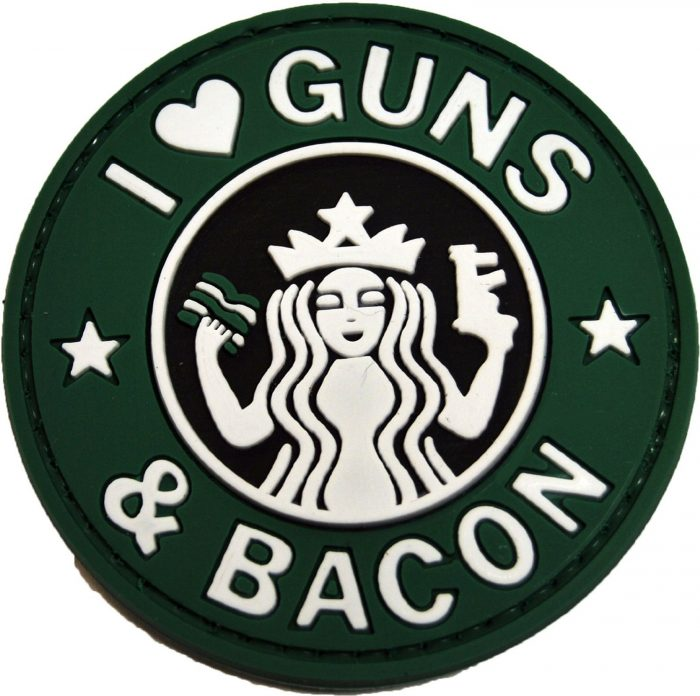 i love guns and bacon patch med velcro